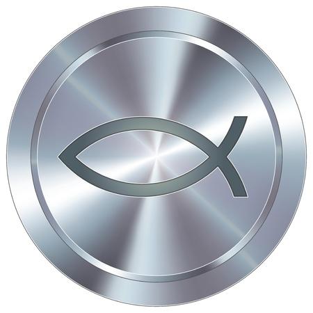 fisch: Christian Jesus fish icon on round stainless steel modern industrial button
