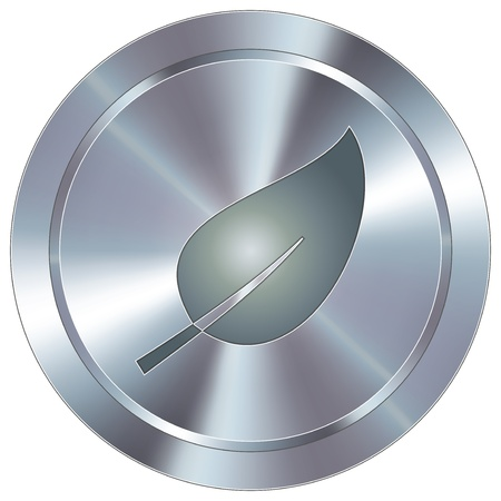 stainless: Leaf or nature icon on round stainless steel modern industrial button Illustration