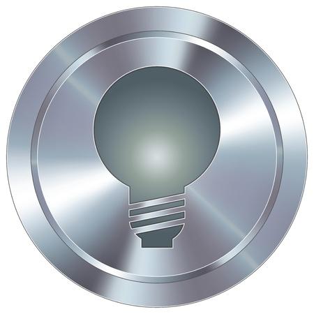 La bombilla o el icono idea en el botón redondo de acero inoxidable industrial moderna Ilustración de vector