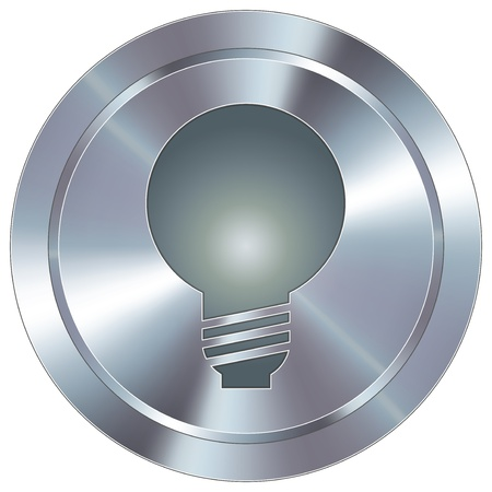 round brilliant: Light bulb or idea icon on round stainless steel modern industrial button
