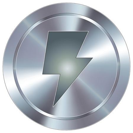 Potenza o bullone icona lampo sul pulsante rotondo in acciaio inox industriale moderna Archivio Fotografico - 14707718
