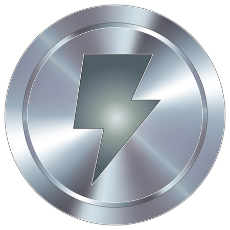 Power or lightning bolt icon on round stainless steel modern industrial button  Illustration
