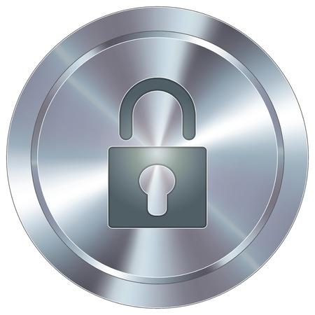 seguridad industrial: Bloquear o icono de seguridad en acero inoxidable redondo moderno industrial bot�n Vectores