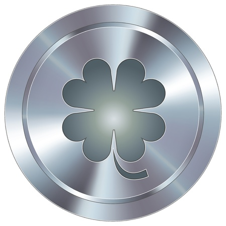 St  Patricks Day or four leaf clover icon on round stainless steel modern industrial button Çizim