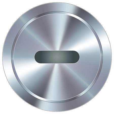 Minus or subtraction math symbol icon on round stainless steel modern industrial button suitable for use as a website accent, on promotional materials, or in advertisements