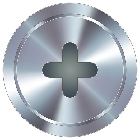 Plus or add math symbol icon on round stainless steel modern industrial button suitable for use as a website accent, on promotional materials, or in advertisements
