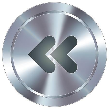 역 또는 홍보 자료에 대한, 또는 광고의 웹 사이트 악센트로 사용하기에 적합한 라운드 스테인레스 스틸 현대 산업 버튼을 다시 미디어 플레이어 아이