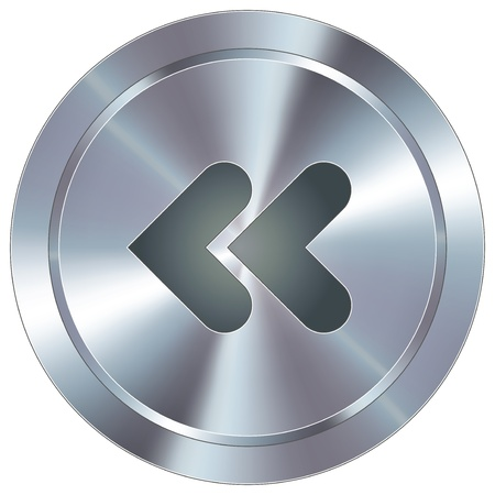 button: Reverse or back media player icon on round stainless steel modern industrial button suitable for use as a website accent, on promotional materials, or in advertisements