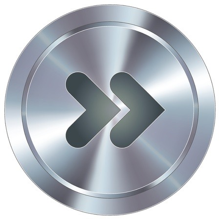 skip: Forward or skip media player icon on round stainless steel modern industrial button suitable for use as a website accent, on promotional materials, or in advertisements   Illustration