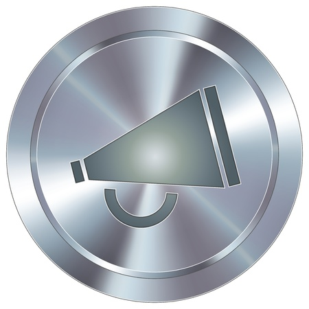announcement icon: Megaphone or announcement icon on round stainless steel modern industrial button Illustration