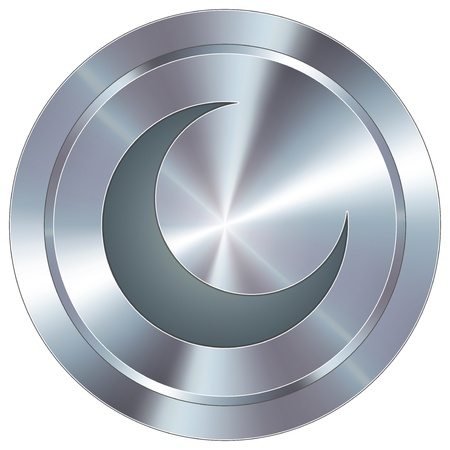 Crescent moon icon on round stainless steel modern industrial button Vector