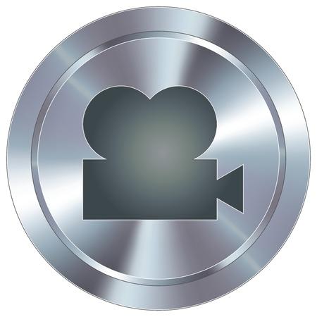 Movie projector icon on round stainless steel modern industrial button  Ilustração