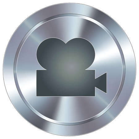 stainless: Movie projector icon on round stainless steel modern industrial button  Illustration