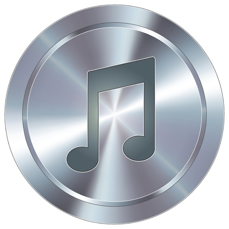 stainless: Music notes icon on round stainless steel modern industrial button