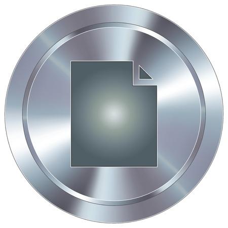 둥근 스테인리스 현대 산업 버튼을 종이 문서 아이콘 일러스트