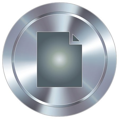 stainless: Paper document icon on round stainless steel modern industrial button