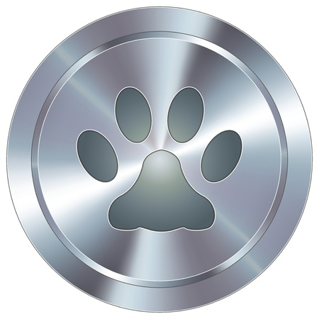 Paw print or pet icon on round stainless steel modern industrial button  Vector