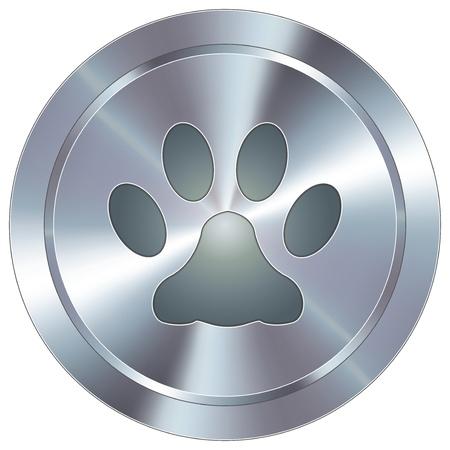 veterinarian symbol: Zampa di stampa o icona sul pulsante rotondo animale domestico in acciaio inox industriale moderna