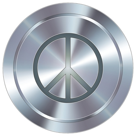 stainless: Peace sign icon on round stainless steel modern industrial button