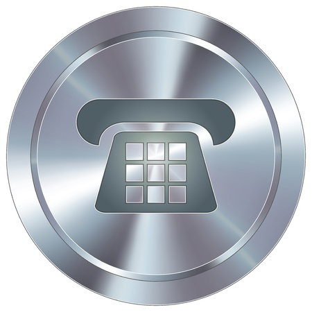 phone button: Telephone or contact icon on round stainless steel modern industrial button  Illustration