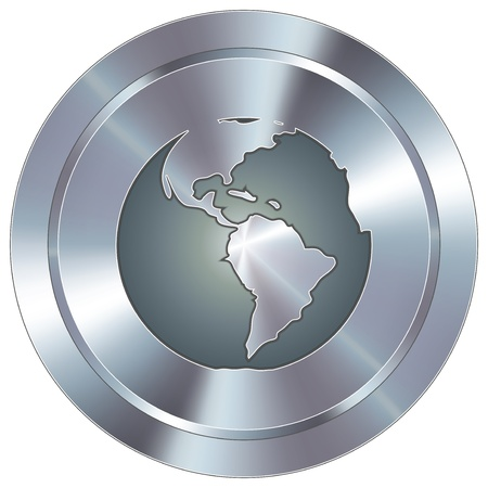chrome: Globe icon on round stainless steel modern industrial button