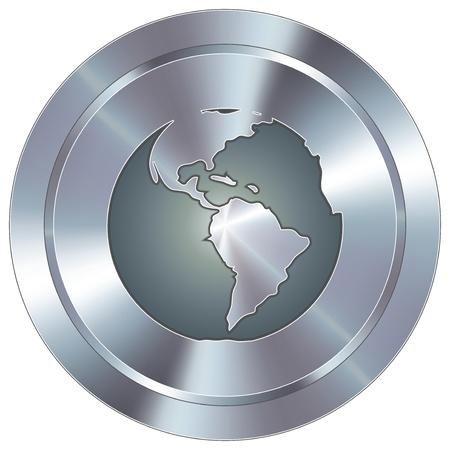 Globe icon on round stainless steel modern industrial button
