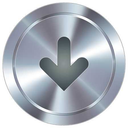 back button: Down arrow direction icon on round stainless steel modern industrial button suitable for use as a website accent, on promotional materials, or in advertisements