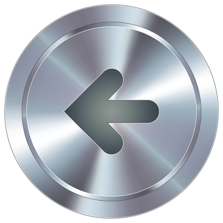 Left arrow direction icon on round stainless steel modern industrial button suitable for use as a website accent, on promotional materials, or in advertisements
