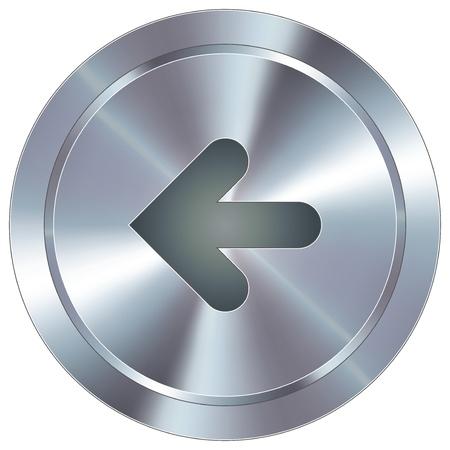 Pfeil nach links Richtung Symbol auf rund Edelstahl modernen Industrie-Taste für den Einsatz als eine Website Akzent, auf Werbematerialien, oder in der Werbung Standard-Bild - 14707905
