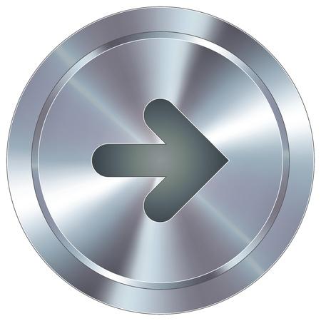 Rechts richting van de pijl pictogram op ronde roestvrij staal moderne industriële knop geschikt voor gebruik als een website accent, op promotiemateriaal, of in de reclame