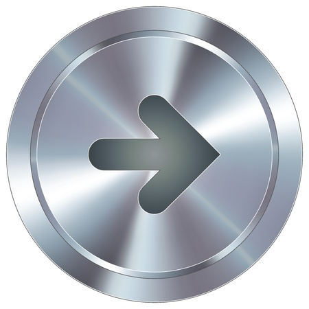 chrome: Right arrow direction icon on round stainless steel modern industrial button suitable for use as a website accent, on promotional materials, or in advertisements