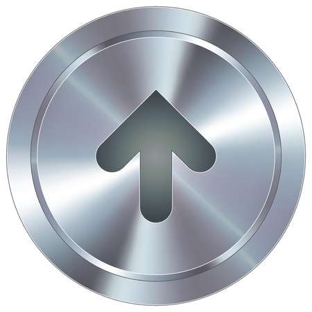 hilight: Up arrow direction icon on round stainless steel modern industrial button suitable for use as a website accent, on promotional materials, or in advertisements