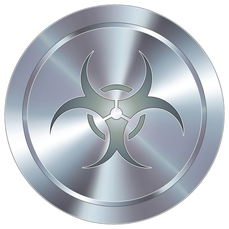 infect: Biohazard warning icon on round stainless steel modern industrial button Illustration
