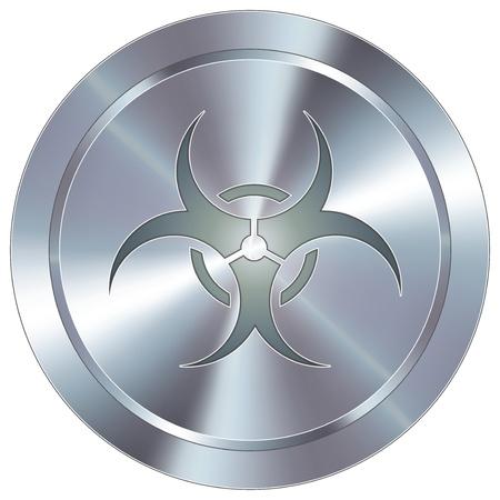 avian flu virus: Biohazard warning icon on round stainless steel modern industrial button Illustration