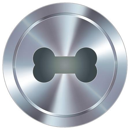 Dog bone icon on round stainless steel modern industrial button
