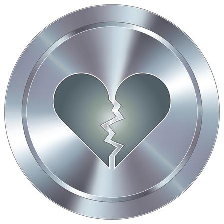 Broken heart icon on round stainless steel modern industrial button