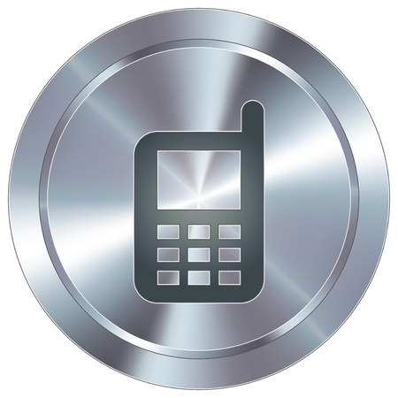 phone icon: Cell phone icon on round stainless steel modern industrial button