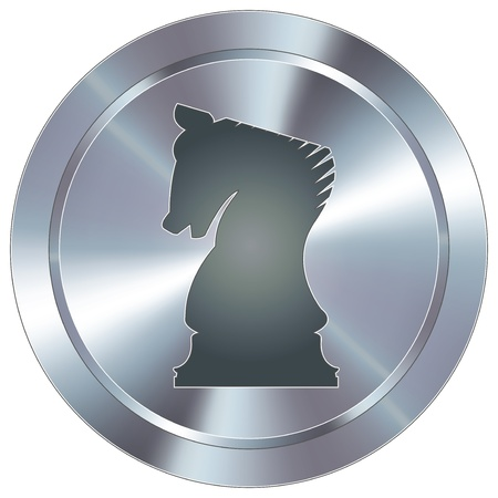 piece: Chess knight strategy icon on round stainless steel modern industrial button