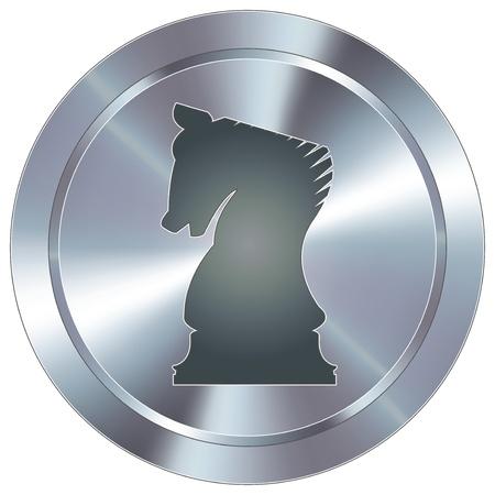 chess knight: Scacchi strategia icona cavaliere pulsante rotondo in acciaio inox industriale moderna