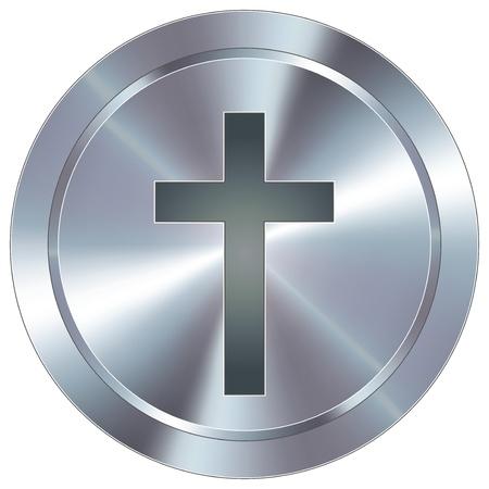 Christelijk kruis pictogram op ronde roestvrij staal moderne industriële knop