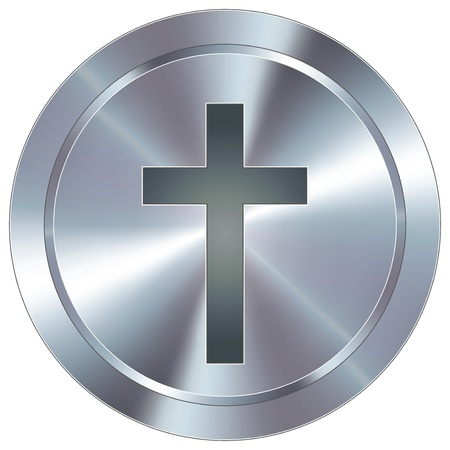 Christian cross icon on round stainless steel modern industrial button  Vector