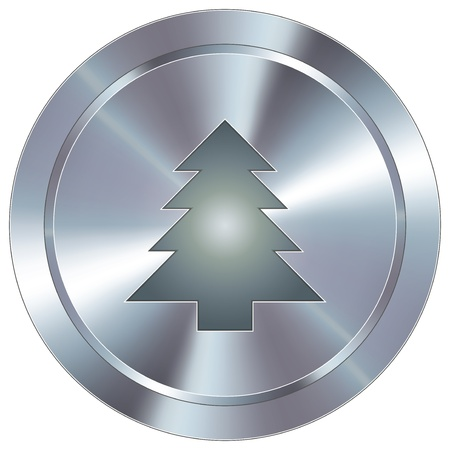 tree disc: Christmas tree icon on round stainless steel modern industrial button Illustration