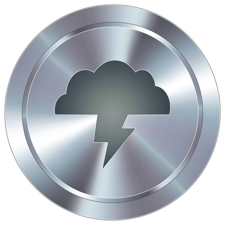 industrial icon: Lightning cloud weather icon on round stainless steel modern industrial button