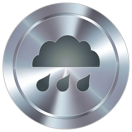 thunder storm: Rain cloud weather icon on round stainless steel modern industrial button  Illustration