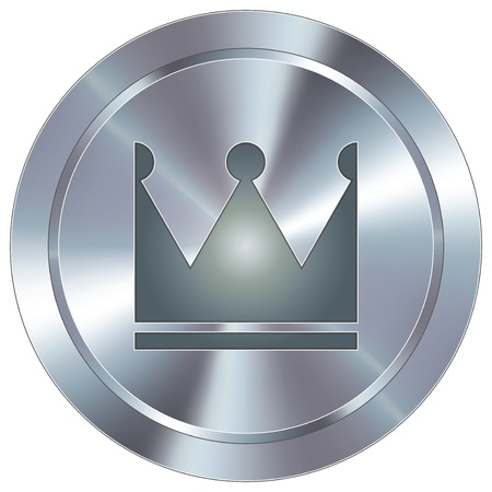 stainless: Crown icon on round stainless steel modern industrial button  Illustration