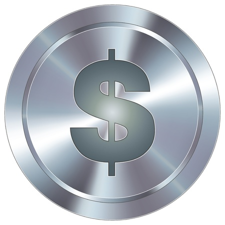 transact: Dollar sign currency icon on round stainless steel modern industrial button