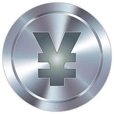 Japanese Yen currency icon on round stainless steel modern industrial button  Vector