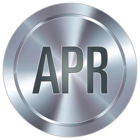 April calendar month icon on round stainless steel modern industrial button suitable  Vector