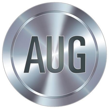 august calendar: Agosto icono de calendario mes en el bot�n redondo de acero inoxidable industrial moderna