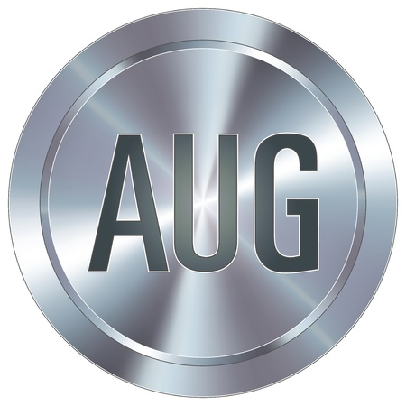 August calendar month icon on round stainless steel modern industrial button  Vector